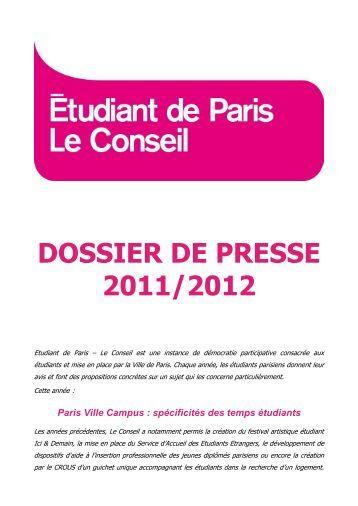 DOSSIER DE PRESSE 2011/2012 - Le Conseil - Etudiantdeparis.fr