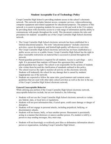 Technology Acceptable Use Policy - Crespi Carmelite High School