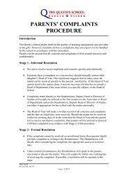 parents' complaints procedure - The Queen's School