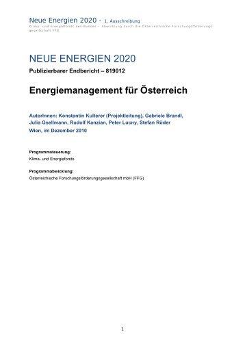 Energiemanagement - Endbericht (pdf) - Österreichische ...
