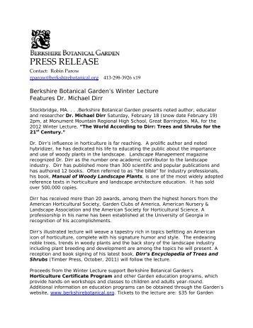 Berkshire Botanical Garden's Winter Lecture Features Dr. Michael Dirr