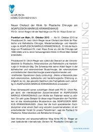 Neuer Chefarzt der Plastischen Chirurgie - AGAPLESION MARKUS ...