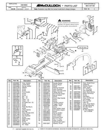 mcculloch mac cat 2 3ci 38cc parts list 223344 01 rh yumpu com McCulloch Chainsaw Manual Model 600093U McCulloch Chainsaw Repair Manual 2014