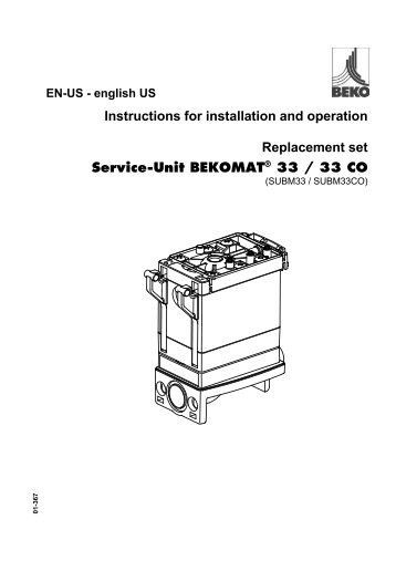 Instructions for installation and operation Replacement set Service ...