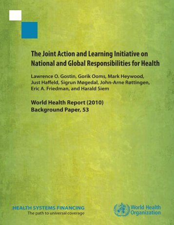 The Joint Action and Learning Initiative on National and Global ...