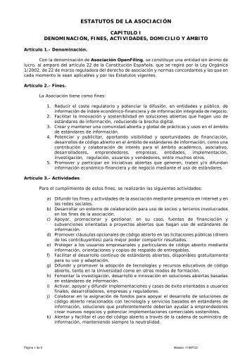 ESTATUTOS DE LA ASOCIACIÓN - Openfiling