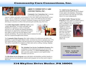 114 Skyline Drive Butler, PA 16001 Community Care Connections, Inc.