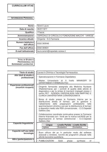 Sereni Laura - Ospedale di Circolo e Fondazione Macchi