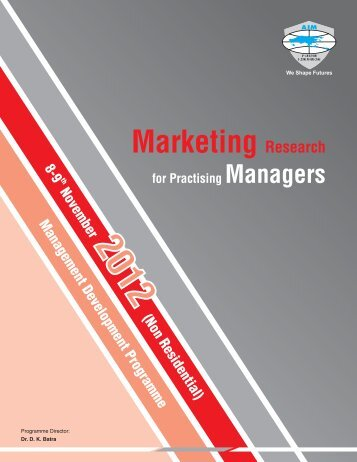 Marketing Research for Practicing Managers 12102012