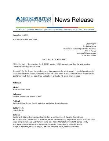 MCC FALL DEAN'S LIST OMAHA, Neb. - Metropolitan Community ...