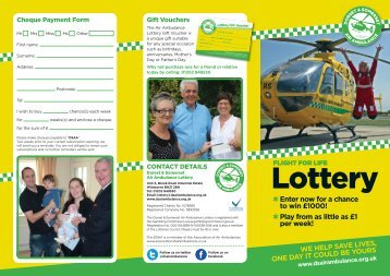 Lottery Information leaflet - Dorset and Somerset Air Ambulance