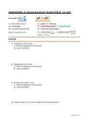 Ainemäärä ja pV = nRT - tehtäviä