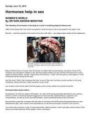 Hormones Help In Sex (June 2012) - PrimaNora Medical Centre