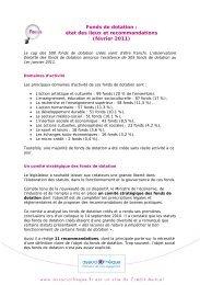Fonds de dotation : état des lieux et recommandations