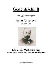 und Werkskizze eines Komponisten um die ... - Urspruch, Anton