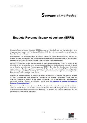 La méthodologie de l'enquête Revenus fiscaux et sociaux ... - Insee