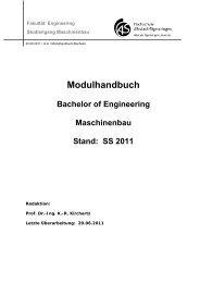 Modulhandbuch Bachelor of Engineering Maschinenbau Stand: SS ...
