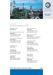 TÜV SÜD Industrie Service GmbH Ihre Ansprechpartner vor Ort