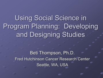 Using Social Science in Program Implementation: Developing and ...
