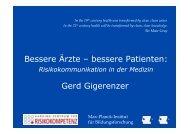 Bessere Ärzte – bessere Patienten: Gerd Gigerenzer - DAGStat