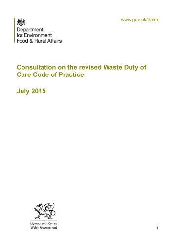 Consultation Duty of Care   A Code of Practice
