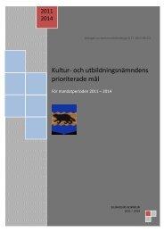 Kultur- och utbildningsnämndens prioriterade mål - Bjurholm kommun