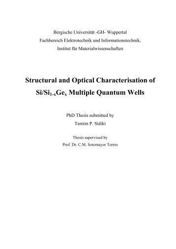 Structural and Optical Characterisation of Si/Si1-xGex Multiple ...