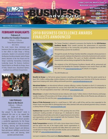2010 business excellence awards finalists announced - Tempe ...