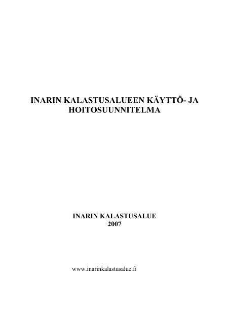 Inarin Kalastusalueen Kaytto Ja Hoitosuunnitelma
