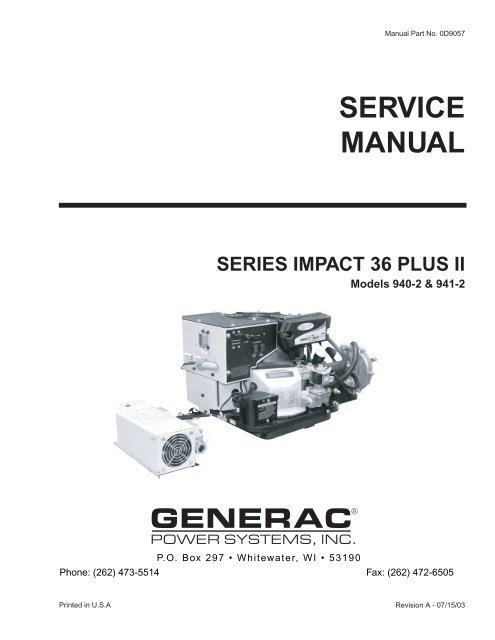 Impact 36 Plus II Service Manual D9057 Generac Parts