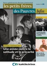 Les petits frères des Pauvres infos n°26 - septembre 2012