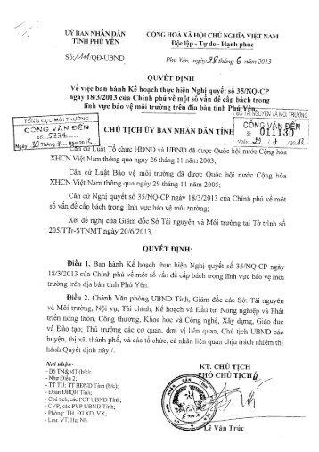 Quyết định số 1111/QĐ-UBND của UBND tỉnh Phú Yên về việc ban ...