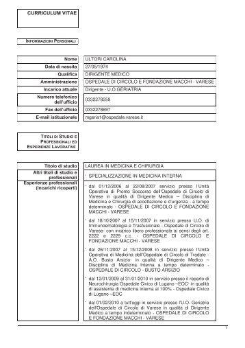 ultori carolina - Ospedale di Circolo e Fondazione Macchi