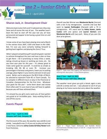 2013 April Newsletter - Zone 2 Ladies