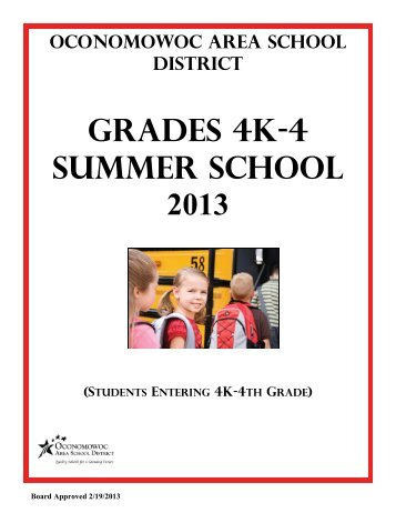 4K-4 Summer School Brochure - Oconomowoc Area School District