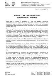 comunicato unitario rinnovo CCNL Telecomunicazioni - Uil Com