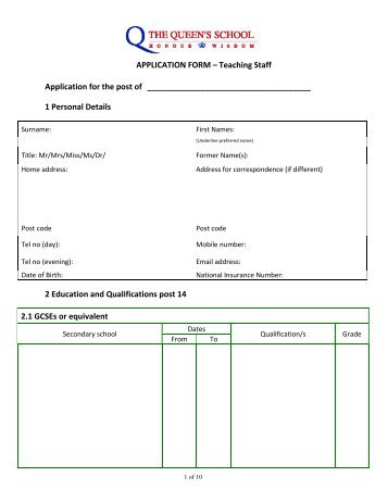 APPLICATION FORM – Teaching Staff Application for the post of 1 ...