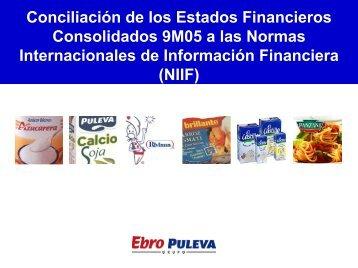 Conciliación de los Estados Financieros - Ebro Foods