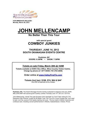 JOHN MELLENCAMP - Penticton Lakeside Resort