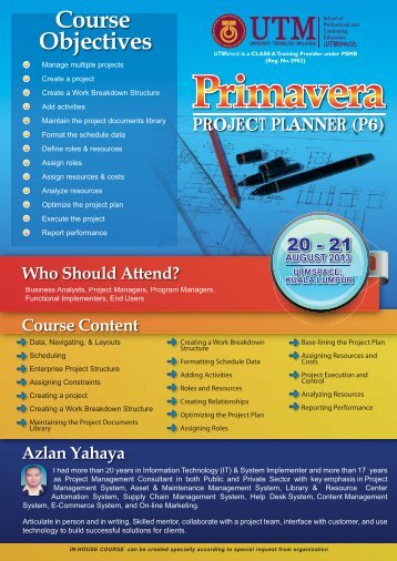 Course Objectives PROJECT PLANNER (P6) - space - UTM