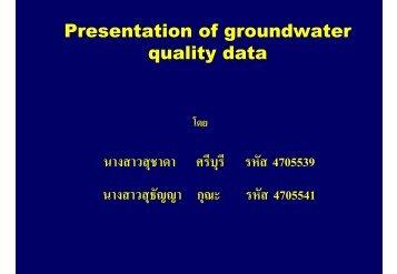 Presentation of groundwater quality data นางสาวสุชาดา ศรีบุรี รหัส ...