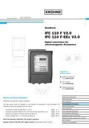 IFC 110 F V2.0 IFC 110 F-EEx V2.0 - Krohne