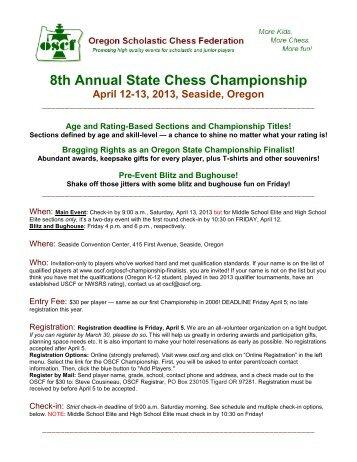 7th Annual State Chess Championship - Oregon Scholastic Chess ...