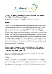 Research on Telephone Cognitive Behavioural Therapy - Anxiety UK