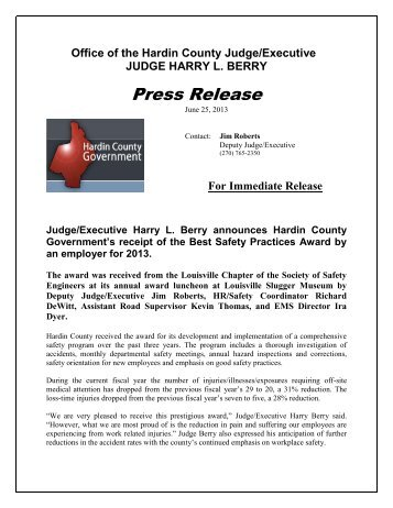 Draft Press Release - Hardin County Government