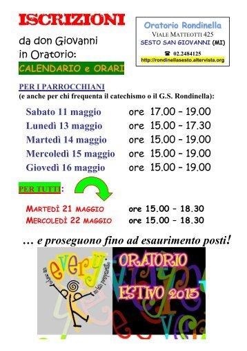 ISCRIZIONI - Il sito dell'Oratorio Salesiano Rondinella - Altervista