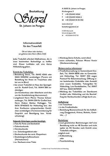 Informationsblatt für den Trauerfall - Bestattung Sterzl