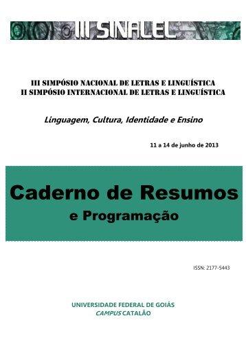 Caderno de Resumos - Letras-III SINALEL - UFG
