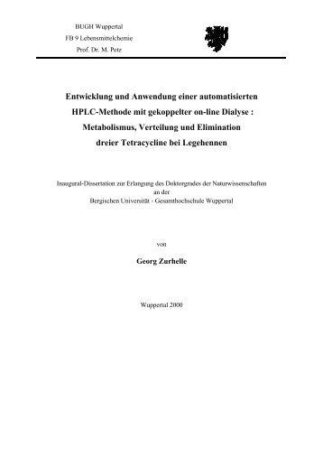 Entwicklung und Anwendung einer automatisierten HPLC-Methode ...