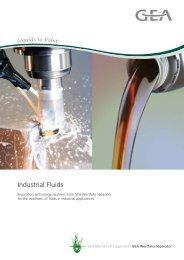 Industrial Fluids - GEA Westfalia Separator